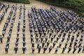 Học sinh trường THPT Đăk Glong tập thể dục giữa giờ